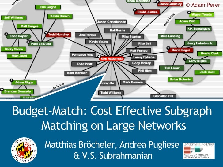 © Adam Perer                                           BudgetMatchBudget-Match: Cost Effective Subgraph     Matching on La...