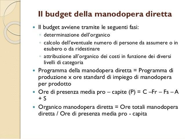 Il budget della manodopera diretta  Il budget avviene tramite le seguenti fasi: ◦ determinazione dell'organico ◦ calcolo ...
