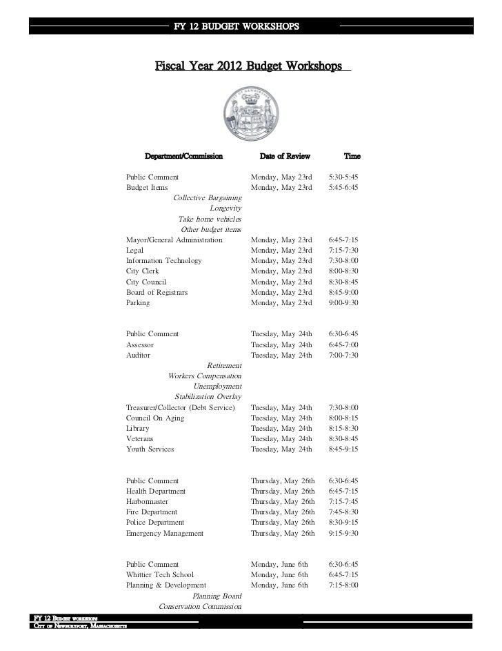 FY 12 BUDGET WORKSHOPS                                          Fiscal Year 2012 Budget Workshops                         ...