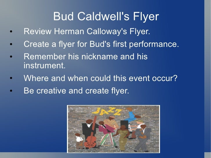 Bud not buddy herman e calloway flyer top healing clip art images for