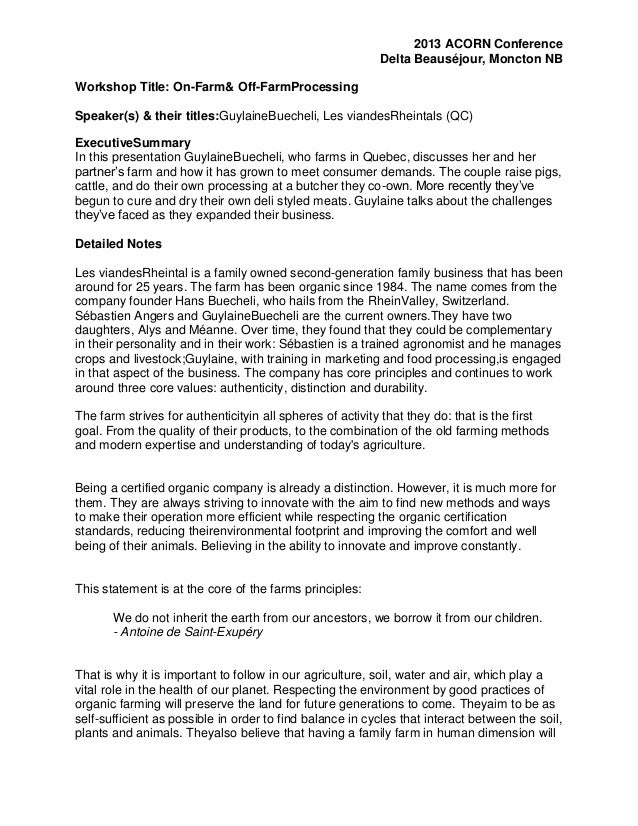 2013 ACORN Conference Delta Beauséjour, Moncton NB Workshop Title: On-Farm& Off-FarmProcessing Speaker(s) & their titles:G...