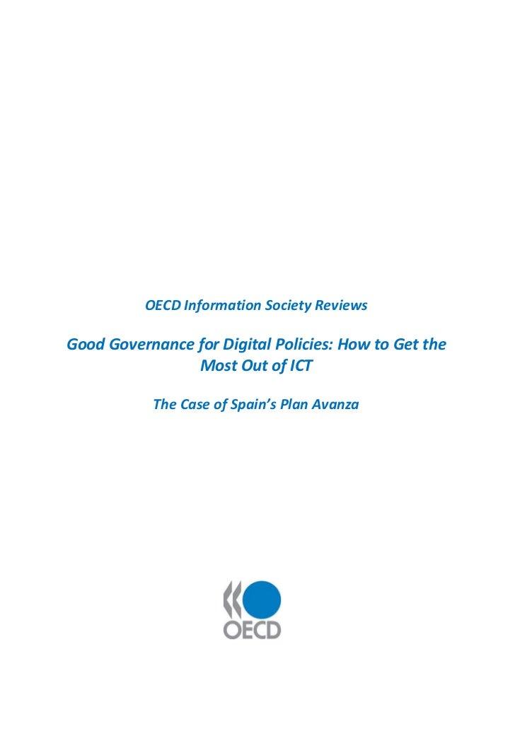 Buena gobernanza en las políticas digitales. Cómo maximizar el potencial de las TIC. El caso del Plan Avanza en España.
