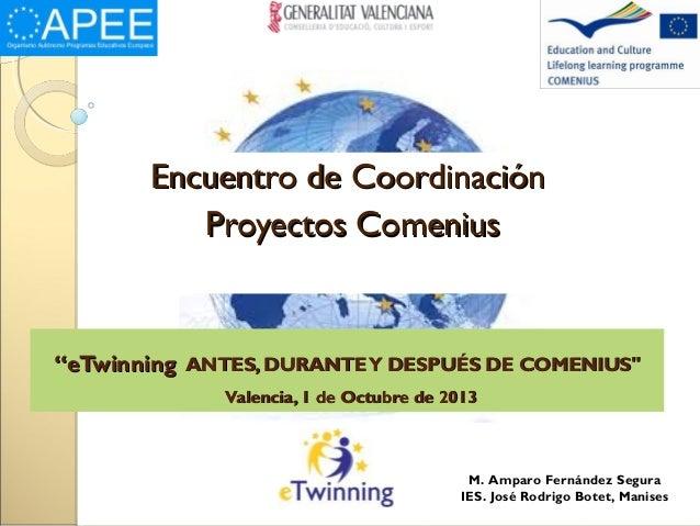 """""""""""eTwinningeTwinning ANTES, DURANTEY DESPUÉS DE COMENIUS""""ANTES, DURANTEY DESPUÉS DE COMENIUS"""" Valencia, 1 de Octubre de 20..."""
