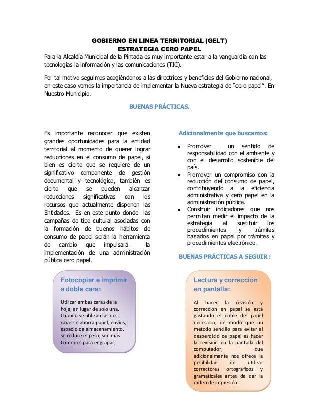 GOBIERNO EN LINEA TERRITORIAL (GELT)                              ESTRATEGIA CERO PAPELPara la Alcaldía Municipal de la Pi...