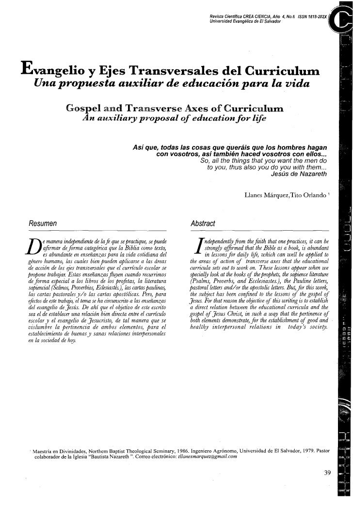 Revista Cienfifica CREA CIENC1.4, Aho 4, No.6 ISSN 1818-20%                                                               ...