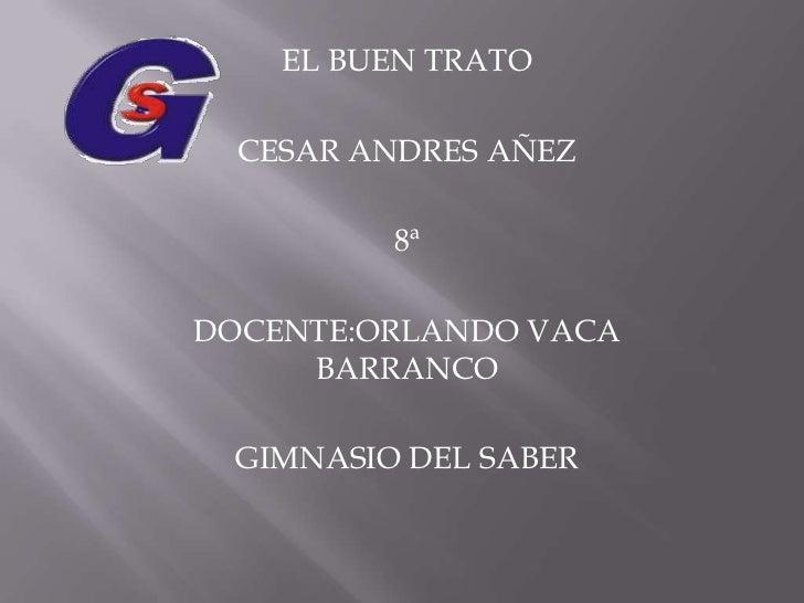 EL BUEN TRATO <br />CESAR ANDRES AÑEZ <br />8ª <br />DOCENTE:ORLANDO VACA BARRANCO <br />GIMNASIO DEL SABER <br />