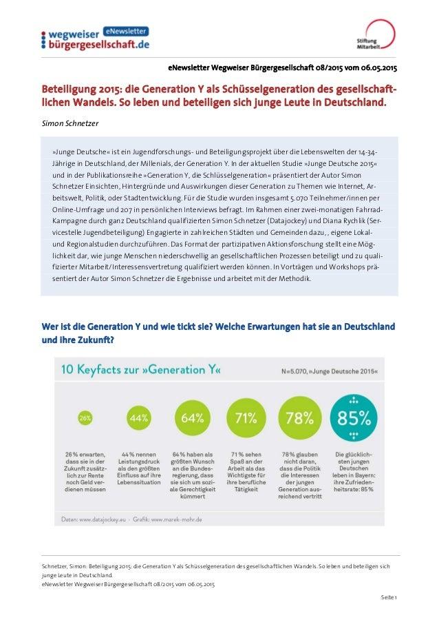 Schnetzer, Simon: Beteiligung 2015: die Generation Y als Schüsselgeneration des gesellschaftlichen Wandels. So leben und b...