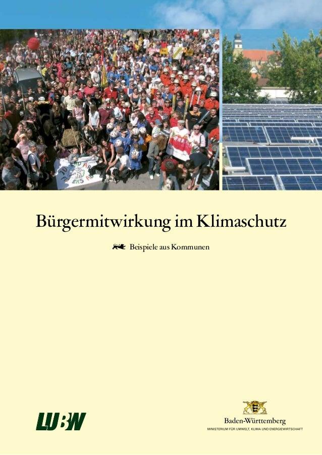Bürgermitwirkung im Klimaschutz  Beispiele aus Kommunen