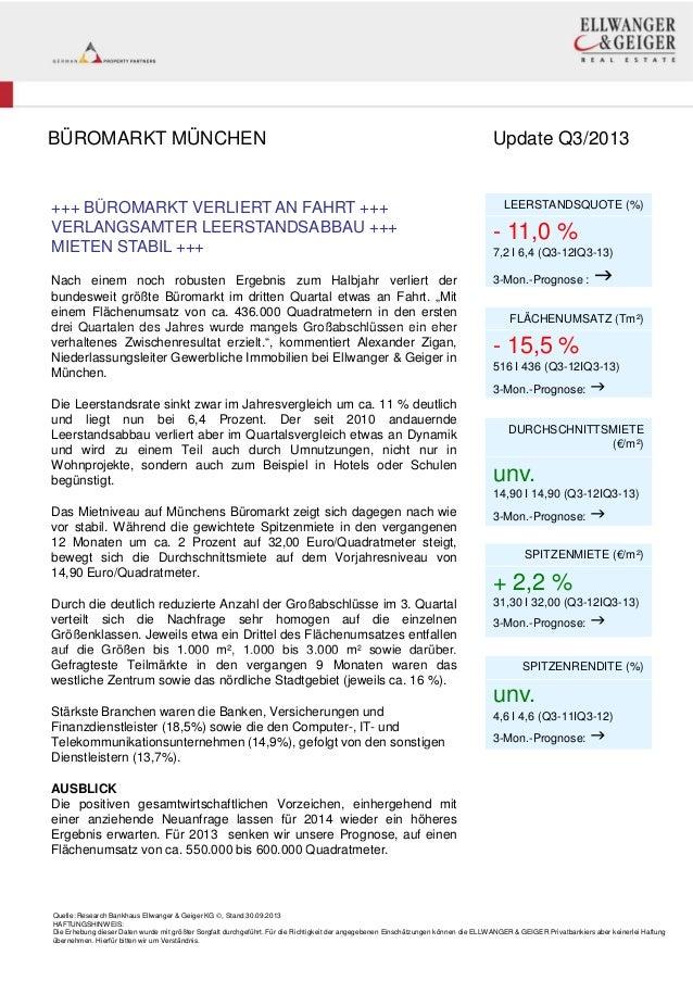 ELLWANGER & GEIGER REAL ESTATE: BÜROMARKT MÜNCHEN, Update Q3/2013