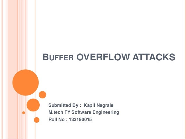 BUFFER OVERFLOW ATTACKS  Submitted By : Kapil Nagrale M.tech FY Software Engineering Roll No : 132190015