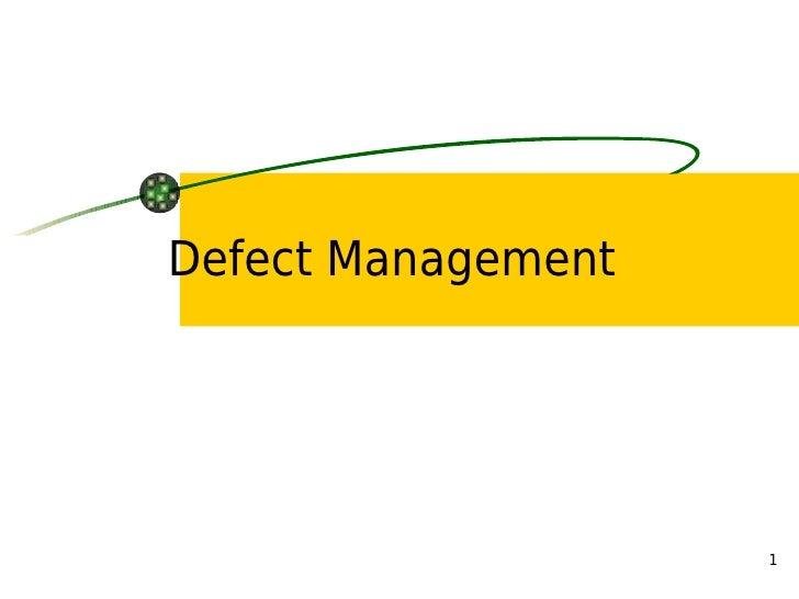 Defect Management                         1