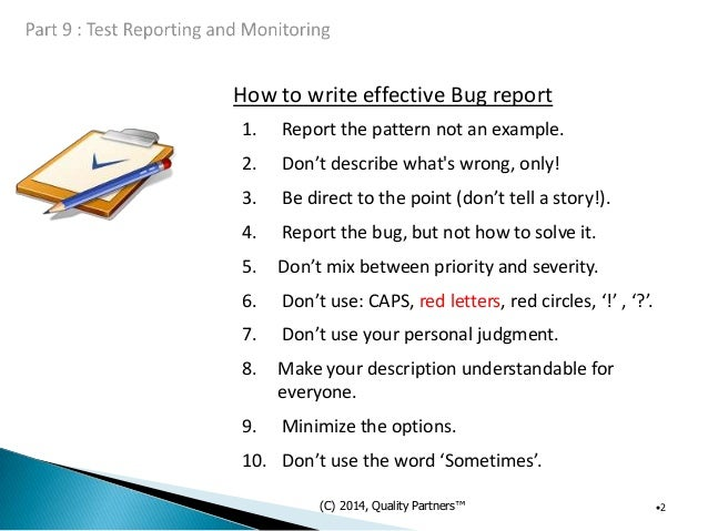 How to write a bug report example