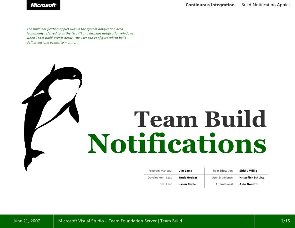 Continuous Integration — Build Notification Applet                                                          Team Build    ...