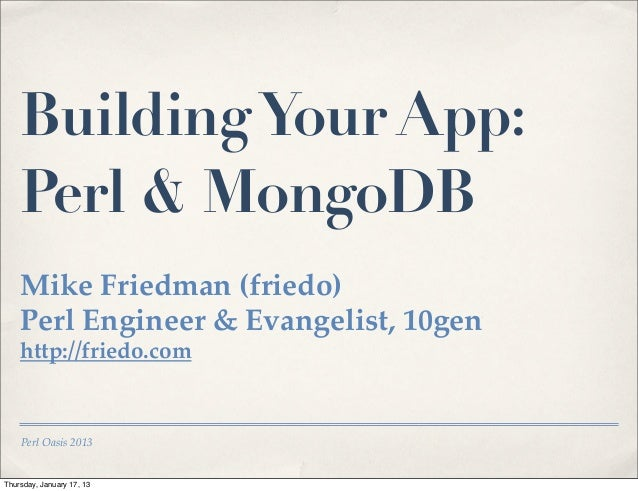Building a MongoDB App with Perl