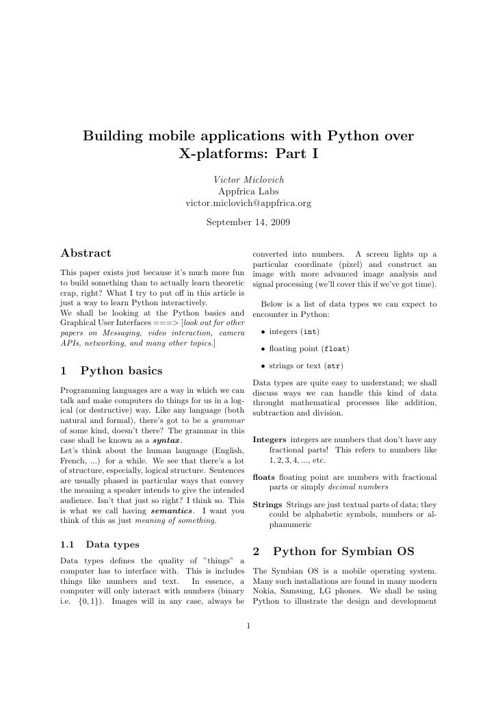 Building mobile applications with Python over                   X-platforms: Part I                                       ...