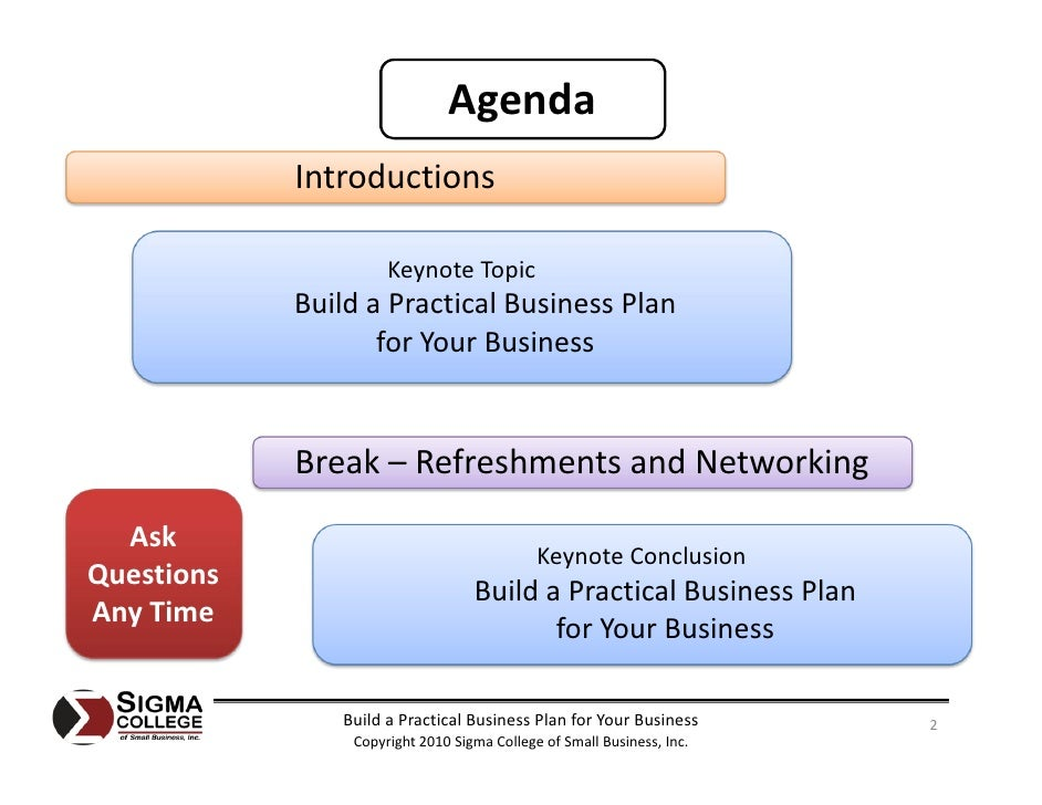 Business plan agenda