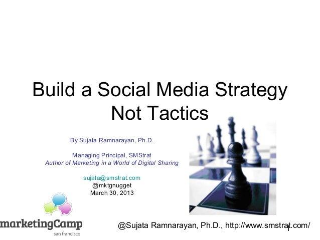 Build a Social Media Strategy         Not Tactics          By Sujata Ramnarayan, Ph.D.           Managing Principal, SMStr...