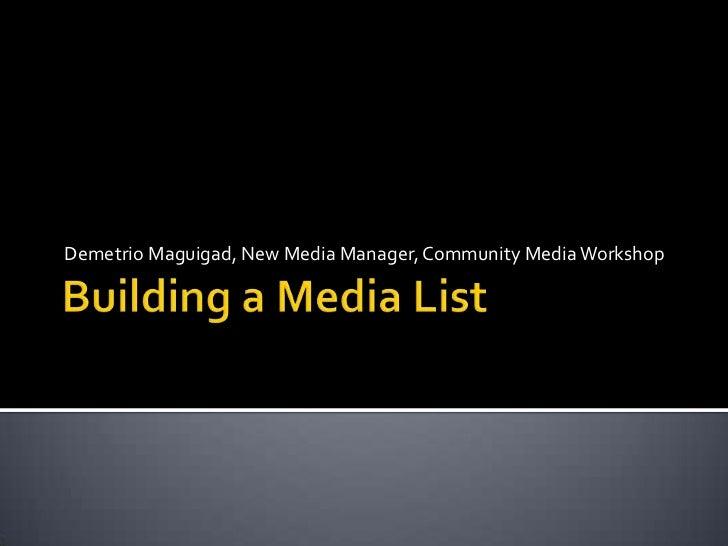 Demetrio Maguigad, New Media Manager, Community Media Workshop