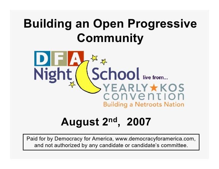 Building An Open Progressive Community