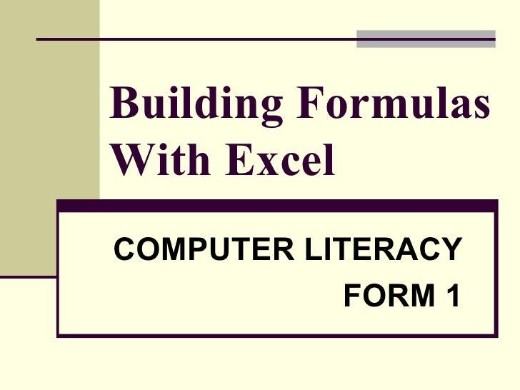 Building Formulas With Excel 2