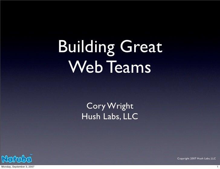 Building Great Web Teams