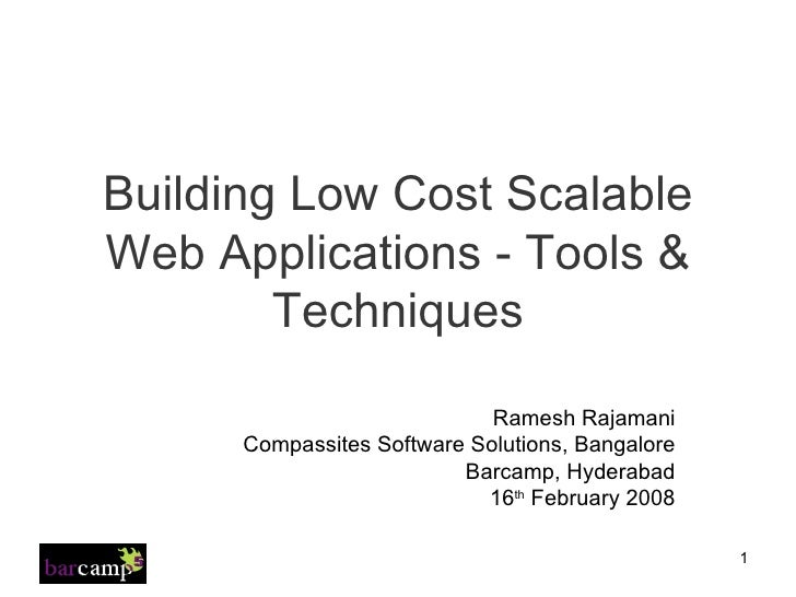 Building Low Cost Scalable Web Applications   Tools & Techniques