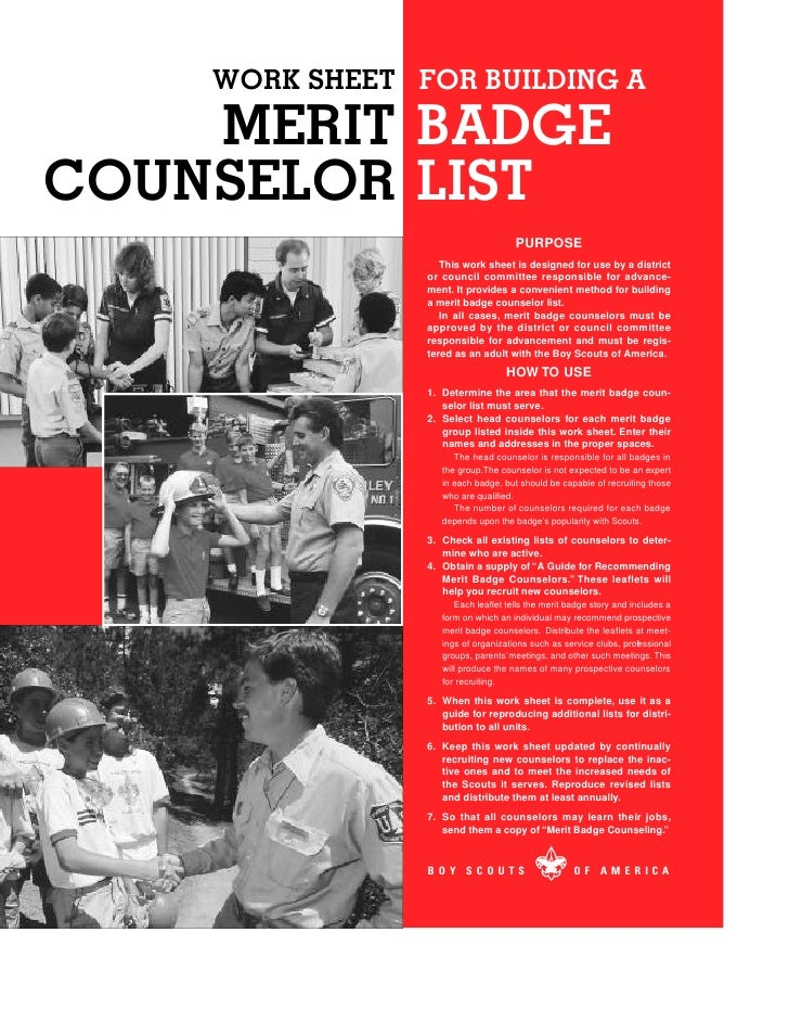 WORK SHEET FOR BUILDING A     MERIT BADGE COUNSELOR LIST                                      PURPOSE                    T...