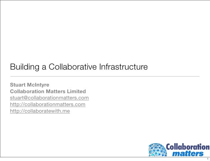 Building a Collaborative Infrastructure Stuart McIntyre Collaboration Matters Limited stuart@collaborationmatters.com http...