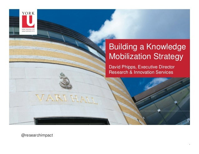 Building a Knowledge Mobilization Strategy David Phipps, Executive Director Research & Innovation Services  @researchimpac...
