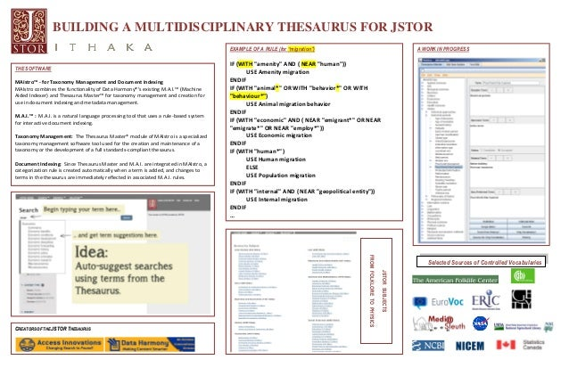 "BUILDING A MULTIDISCIPLINARY THESAURUS FOR JSTORSelected Sources of Controlled VocabulariesEXAMPLE OF A RULE (for ""migrati..."