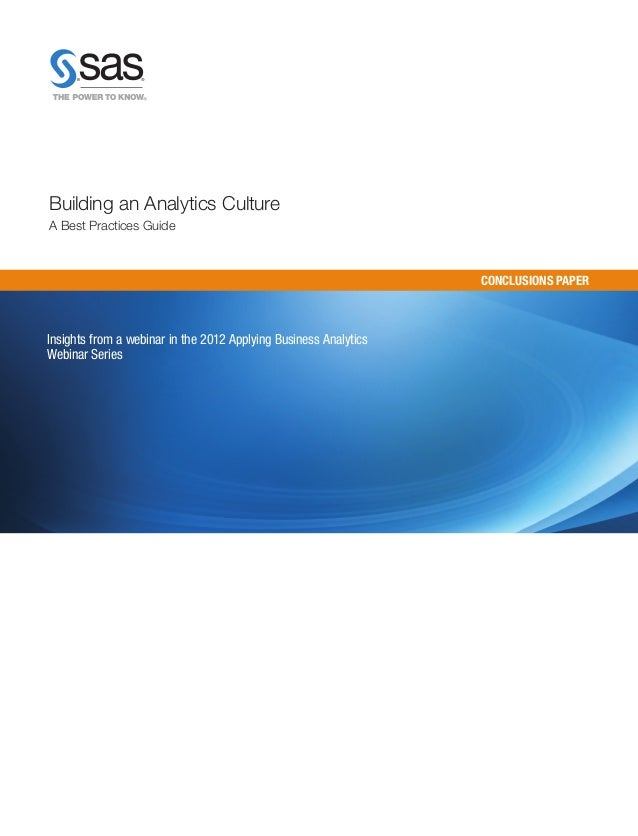 Building an analytics culture: a best practices guide