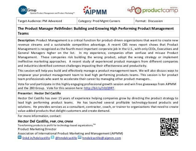 Target Audience: PM Advanced Category: Prod Mgmt Careers Format: DiscussionThe Product Manager Pathfinder: Building and Gr...
