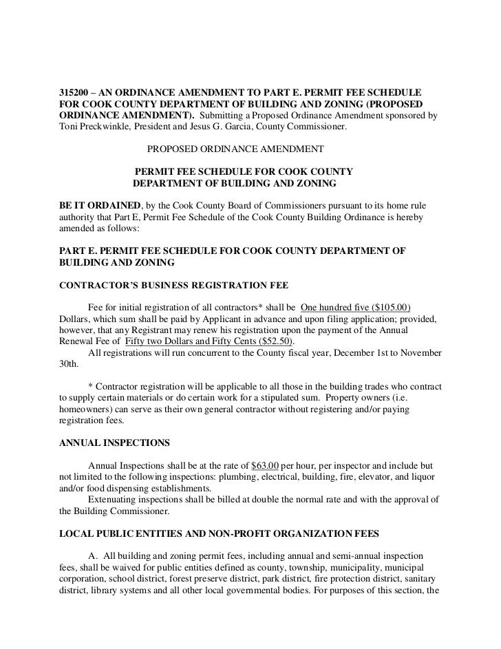 315200 – AN ORDINANCE AMENDMENT TO PART E. PERMIT FEE SCHEDULEFOR COOK COUNTY DEPARTMENT OF BUILDING AND ZONING (PROPOSEDO...