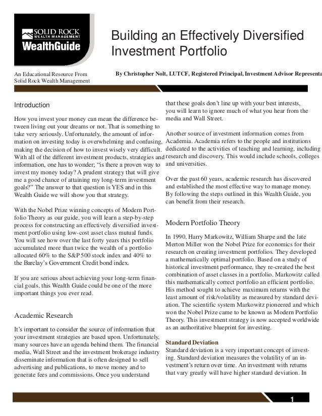 Building an Effectively Diversified Investment Portfolio An Educational Resource From Solid Rock Wealth Management By Chri...