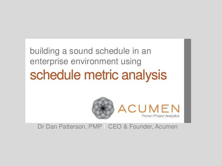 PMICOS Webinar: Building a Sound Schedule in an Enterprise Environment