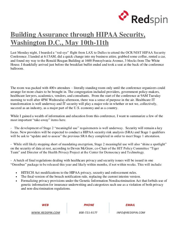 """Building Assurance through HIPAA Security,Washington D.C., May 10th-11thLast Monday night, I boarded a """"red-eye"""" flight fr..."""