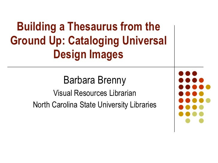 Building a Thesaurus from the Ground Up: Cataloging Universal Design Images