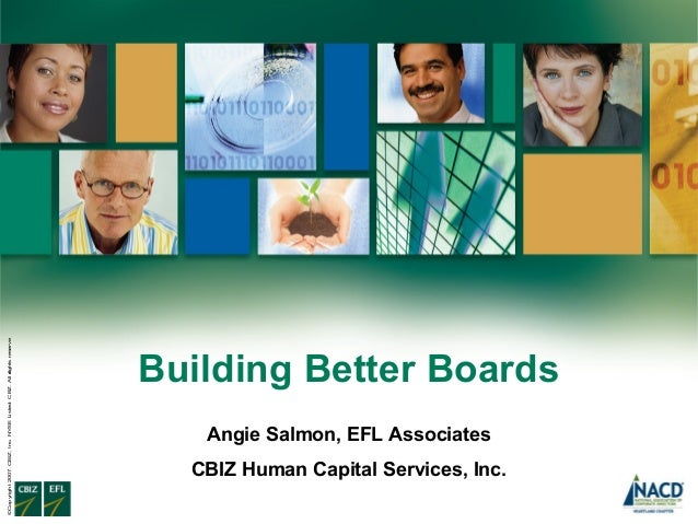 ©Copyright 2007. CBIZ, Inc. NYSE Listed: CBZ. All rights reserve d.  Building Better Boards Angie Salmon, EFL Associates C...