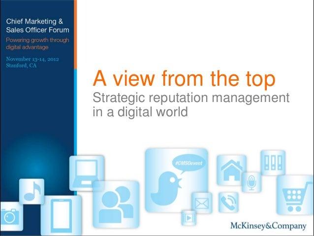 Strategic reputation management in a digital world