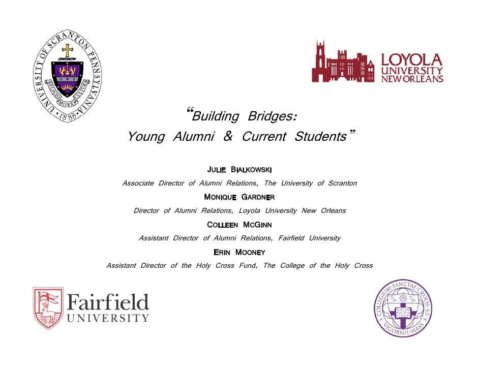 """""""Building Bridges: Young Alumni & Current Students"""""""
