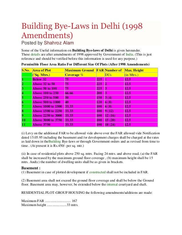 Building Bye-Laws in Delhi (1998 Amendments)