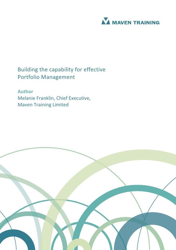 Building capability for effective portfolio management 1.1