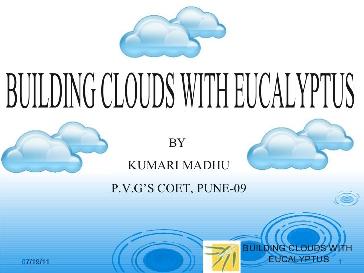 Building clouds with eucalyptus