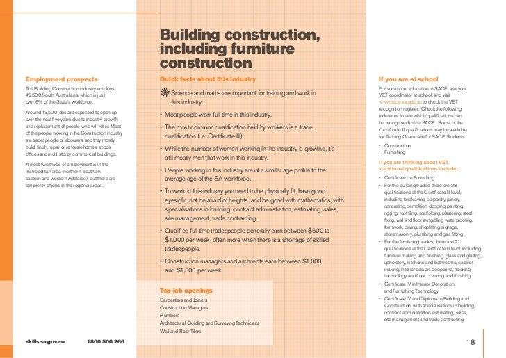 Building construction, including furniture construction careers