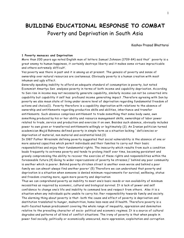 1  BUILDING EDUCATIONAL RESPONSE TO COMBAT        Poverty and Deprivation in South Asia                                   ...