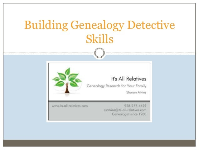 Building Genealogy Detective Skills