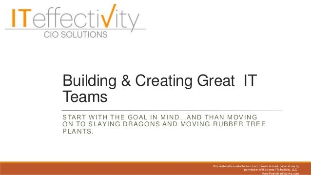 Building and Creating Great IT Teams