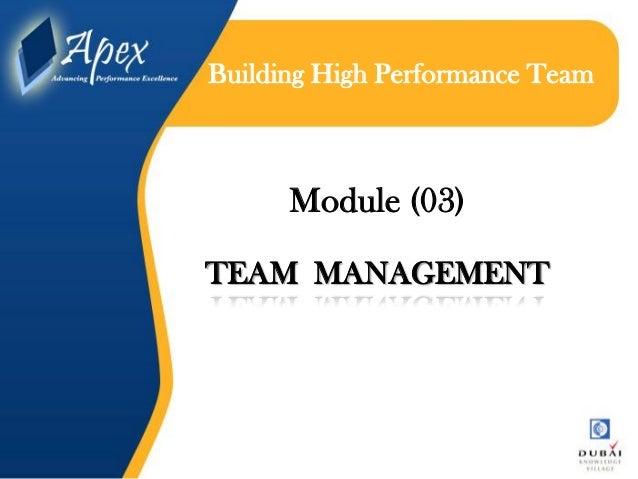 Building high performance teame module (03) team management