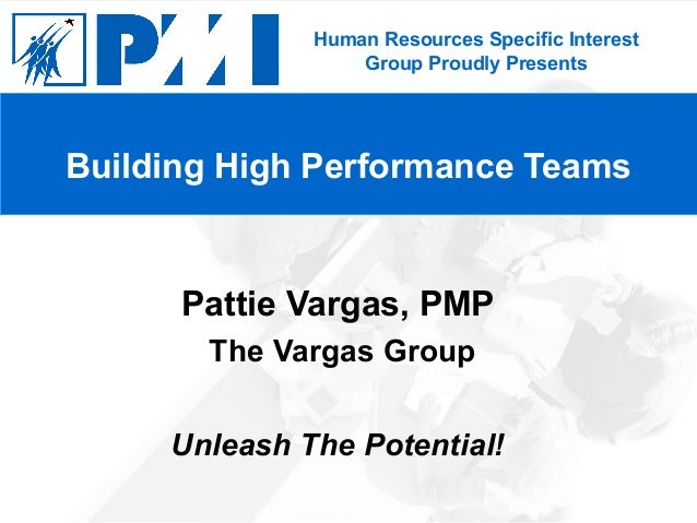 Human Resources Specific Interest Group Proudly Presents Pattie Vargas, PMP The Vargas Group Unleash The Potential! Buildi...