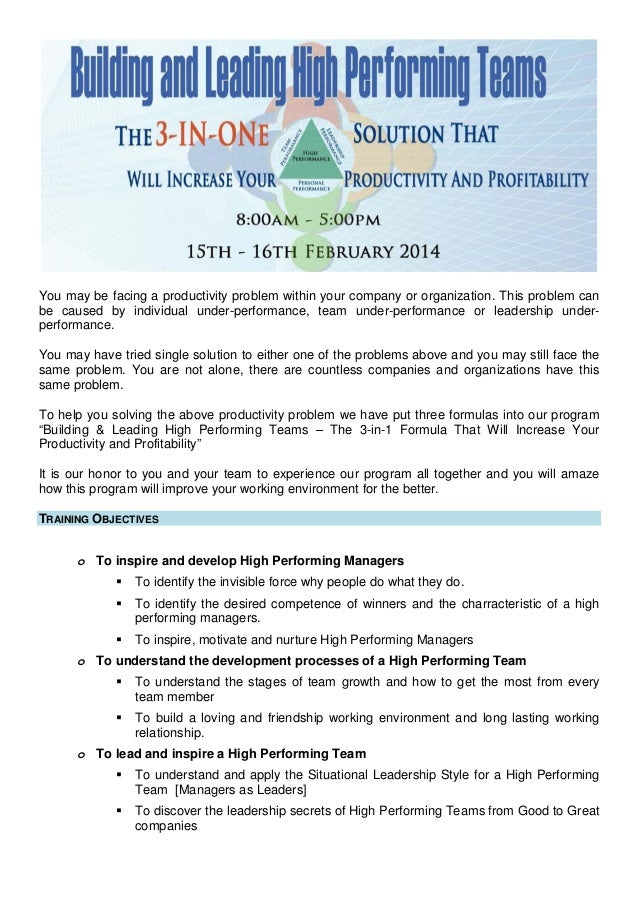 Building & leading high performing team 15th 16th february 2014